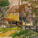 Autor: Jozef KAMINSKÝ, Name of work: Dudince - U Mlynárky, Technique: kolorovaná grafika, Motif: landscape, architecture, Size: 18x12 cm, Year: 2011