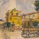 Autor: Jozef KAMINSKÝ, Názov diela: Dudince - U Mlynárky II, Technika: kolorovaná grafika, Motív: krajina, architektúra, Rozmery: 12x18 cm, Rok: 2011