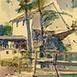 Autor: Jozef KAMINSKÝ, Názov diela: Dudince - lávka U Mlynárky, Technika: kolorovaná grafika, Motív: krajina, architektúra, Rozmery: 18x12 cm, Rok: 2011