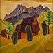 Autor: Zdeno HORECKÝ, Akademický maliar, Name of work: Leto pod Rozsutcom, Technique: olej, tempera, Motif: landscape, architecture, Size: 30x30 cm, Year: 2014