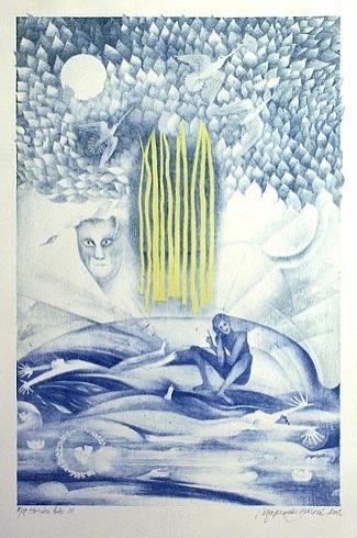 Naďa RAPPENSBER- GEROVÁ - JANKOVIČOVÁ, Ak. maliar - Horúce leto IV (2002), Technika: farebná litografia, Rozmery: 42x28 cm