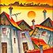 Autor: Janka  HOLÁ, Názov diela: Slnko nad mestom II, Technika: kombinácia techník, Motív: krajina, architektúra, Rozmery: 36x31 cm, Rok: 2015