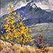 Autor: Zuzana BOBOVSKÁ, Názov diela: Jeseň v Terchovej, Technika: akryl, Motív: krajina, architektúra, Rozmery: 60x60 cm, Rok: 2012