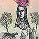 Autor: Katarína VAVROVÁ, Akademická maliarka, Name of work: Mladá, Technique: ručne kolorovaný lept, Motif: figured, nudes, Size: 14x10 cm, Year: 2015