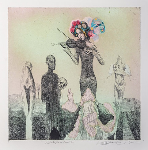 Katarína VAVROVÁ, Akademická maliarka - Sólo pre husle (2015), Technika: ručne kolorovaný lept, Rozmery: 29,5x29,5 cm