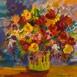 Autor: Ruth DUBAYOVÁ, Akademická maliarka, Názov diela: Pieseň kvetov XII, Technika: olejomaľba, Motív: zátišie, Rozmery: 40x40 cm, Rok: 2015