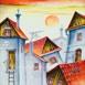 Autor: Janka  HOLÁ, Názov diela: Slnko nad strechami II, Technika: kombinácia techník, Motív: krajina, architektúra, Rozmery: 31,5x36 cm, Rok: 2016