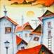 Autor: Janka  HOLÁ, Názov diela: Slnko nad strechami , Technika: kombinácia techník, Motív: krajina, architektúra, Rozmery: 31,5x36cm, Rok: 2016