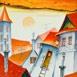 Autor: Janka  HOLÁ, Názov diela: Slnko nad strechami I, Technika: kombinácia techník, Motív: krajina, architektúra, Rozmery: 31,5x36 cm, Rok: 2016