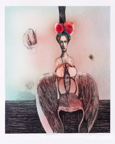 Katarína VAVROVÁ, Akademická maliarka - Krídla (2016), Technika: kolorovaný lept, Rozmery: 60 x 49cm