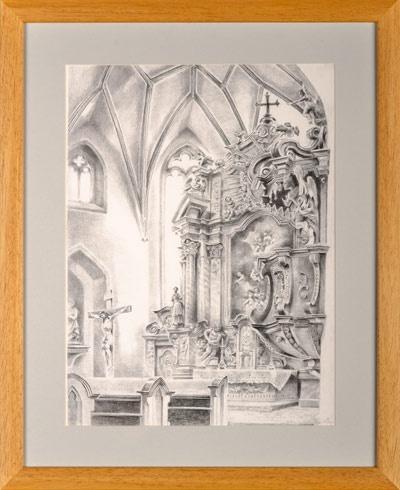 Braňo JÁNOŠ - Banská Štiavnica - V Kostole sv. Kataríny (2016), Technique: kombinácia techník, serigrafia + krieda, Size: 49x33 cm