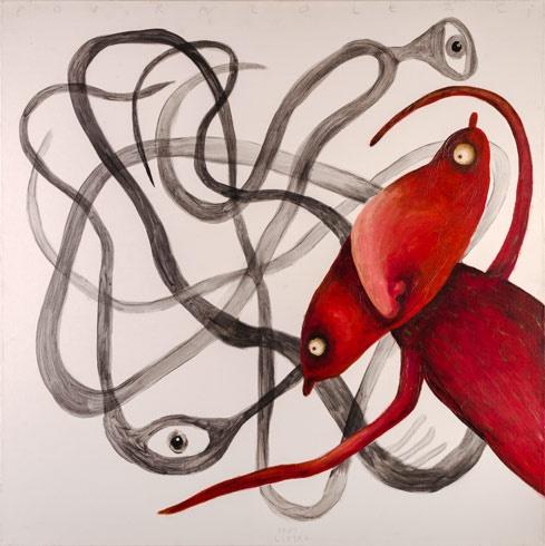 Fero LIPTÁK - Povrazolezec (2007), Technique: akryl, Size: 100x100