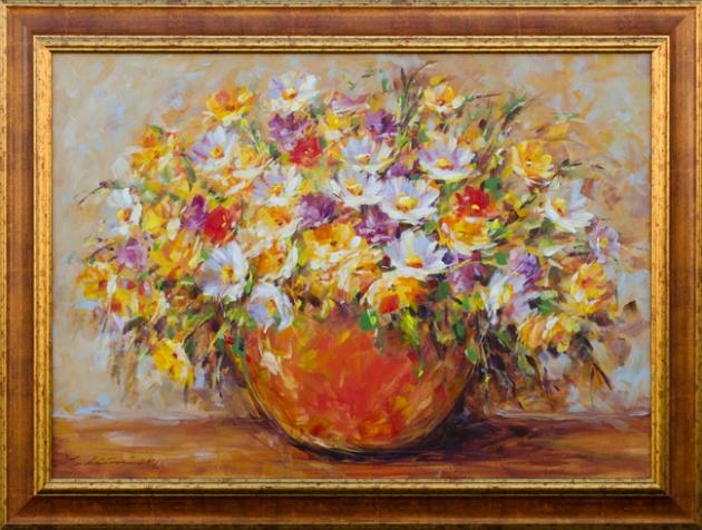 Zuzana LUKÁČOVÁ - Oranžová váza (2016), Technika: maľba akrylom, Rozmery: 50x70 cm