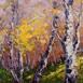 Autor: Rudolf RYPÁK, Názov diela: Slnko v brezovom háji, Technika: olejomaľba, Motív: krajina, architektúra, Rozmery: 50 x 60 cm, Rok: 2016