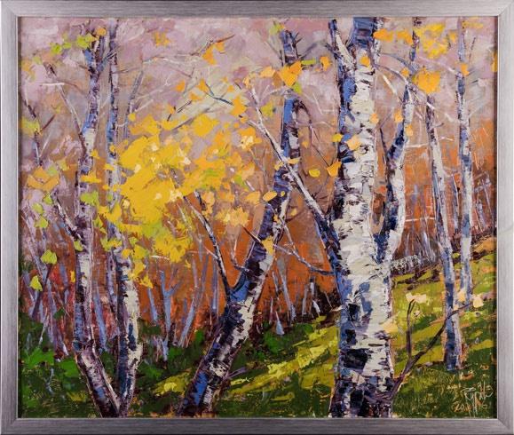 Rudolf RYPÁK - Slnko v brezovom háji (2016), Technika: olejomaľba, Rozmery: 50 x 60 cm