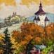 Autor: Rudolf RYPÁK, Názov diela: Banská Štiavnica - Nový zámok a kalvária, Technika: olejomaľba, Motív: krajina, architektúra, Rozmery: 70 x 50 cm, Rok: 2016