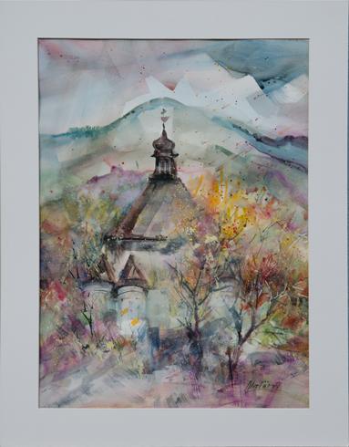 Miro  VŐRŐS - Nový zámok (2016), Technika: akvarel, Rozmery: 54x39