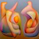 Autor: Orest DUBAY ml., Akademický maliar, Názov diela: Spolupatričnosť IV, Technika: olejomaľba, Motív: abstraktné, Rozmery: 40x40, Rok: 2016
