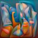 Autor: Orest DUBAY ml., Akademický maliar, Názov diela: Modrý večer I, Technika: olejomaľba, Motív: abstraktné, Rozmery: 60x60, Rok: 2016