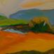Autor: Ruth DUBAYOVÁ, Akademická maliarka, Názov diela: Melódia kopcov II, Technika: olejomaľba, Motív: krajina, architektúra, Rozmery: 29x59, Rok: 2016