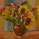 Autor: Ruth DUBAYOVÁ, Akademická maliarka, Názov diela: Kytica VIII, Technika: olejomaľba, Motív: zátišie, Rozmery: 50x50, Rok: 2012