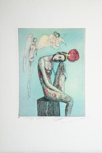 Katarína VAVROVÁ, Akademická maliarka - Unavený anjel I (2018), Technika: kolorovaný lept, Rozmery: 19,5x15