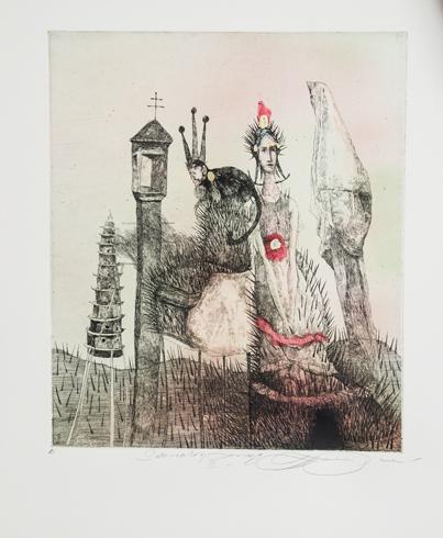 Katarína VAVROVÁ, Akademická maliarka - Sto rokov samoty III (2018), Technika: kolorovaný lept, Rozmery: 30x25