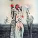 Autor: Katarína VAVROVÁ, Akademická maliarka, Názov diela: Nanebevstúpenie stromov, Technika: kolorovaný lept, Motív: ostatné nezaradené, Rozmery: 70x49, Rok: 2018