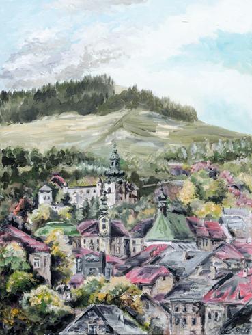 František Kašiar - Banská Štiavnica - Tri veže (2017), Technika: olej, Rozmery: 70x50