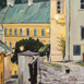 Autor: Jaroslav ÁČ, Názov diela: Banská Štiavnica - Podvečer na Ružovej ulici, Technika: olejomaľba, Motív: krajina, architektúra, Rozmery: 70x50, Rok: 2018