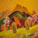 Autor: Zdeno HORECKÝ, Akademický maliar, Názov diela: Jar na Grúňoch (Zázrivá), Technika: olej+tempera, Motív: krajina, architektúra, Rozmery: 40x40, Rok: 2014