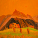 Autor: Zdeno HORECKÝ, Akademický maliar, Názov diela: Letný večer v Zázrivej, Technika: olej+tempera, Motív: krajina, architektúra, Rozmery: 40x40, Rok: 2009