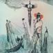 Autor: Katarína VAVROVÁ, Akademická maliarka, Názov diela: V údolí nádeje a fantázie, Technika: kolorovaný lept, Motív: ostatné nezaradené, Rozmery: 60x49, Rok: 2018
