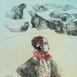 Autor: Katarína VAVROVÁ, Akademická maliarka, Názov diela: California - Anjel z La Tolly, Technika: kolorovaný lept, Motív: ostatné nezaradené, Rozmery: 29x19,5, Rok: 2018