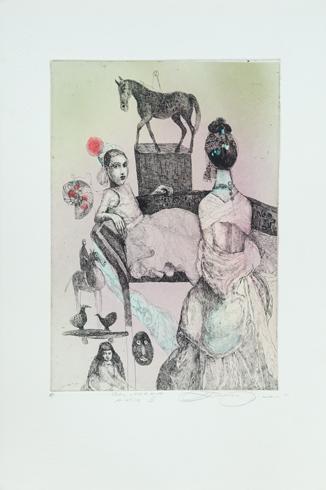 Katarína VAVROVÁ, Akademická maliarka - California - Antik II (2018), Technika: kolorovaný lept, Rozmery: 29x20