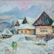 Autor: Miro  VŐRŐS, Názov diela: Zima vo Vlkolínci, Technika: olejomaľba, Motív: krajina, architektúra, Rozmery: 38x43, Rok: 2017