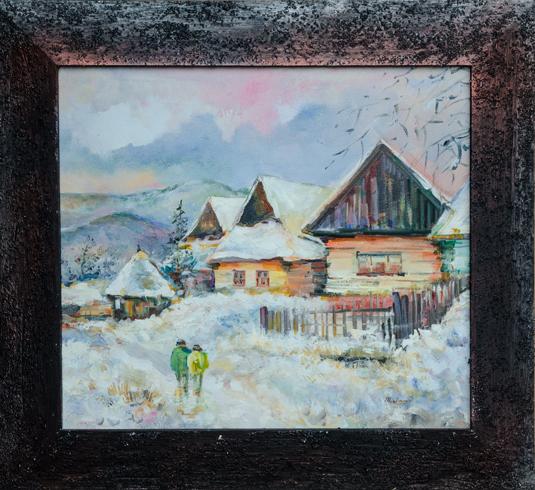 Miro  VŐRŐS - Zima vo Vlkolínci (2017), Technique: olejomaľba, Size: 38x43