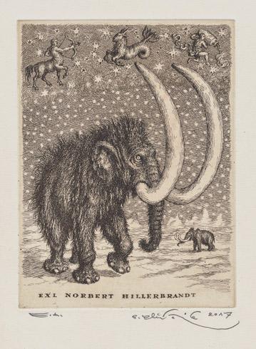 Peter KĽÚČIK, Ak. maliar - Ex Libris Norbert Hillebrandt - Mamut (2017), Technika: Lept, Rozmery: 19,5x14,5