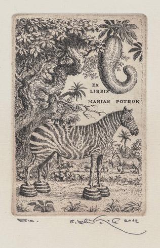 Peter KĽÚČIK, Ak. maliar - Ex Libris - Marian Potrok (2015), Technika: Lept, Rozmery: 14,5x9,5