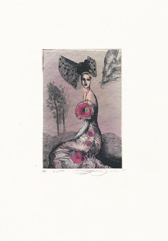 Katarína VAVROVÁ, Akademická maliarka - Leto (2018), Technika: kolorovaný lept, Rozmery: 14,5x9,5