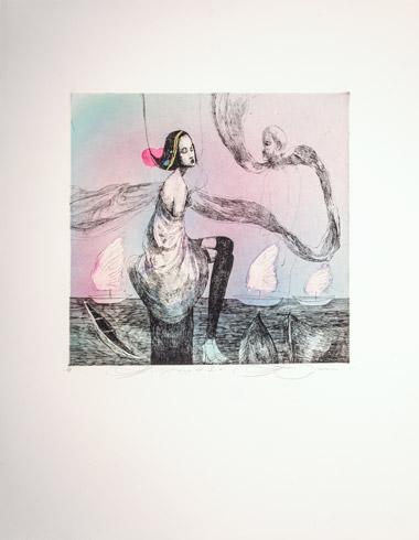 Katarína VAVROVÁ, Akademická maliarka - Keď vietor I (2018), Technika: kolorovaný lept, Rozmery: 29,5x29,5
