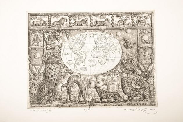 Peter KĽÚČIK, Ak. maliar - Mapa sveta III (2016), Technique: lept, Size: 29,7x39