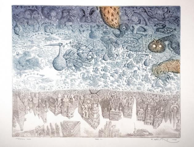Peter KĽÚČIK, Ak. maliar - Vtáčia moc (1988), Technika: lept, Rozmery: 49x64,5