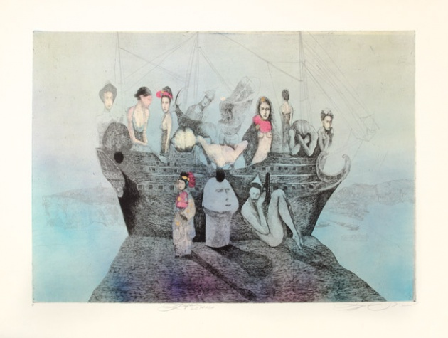 Katarína VAVROVÁ, Akademická maliarka - Lefkada (2018), Technika: Ručne kolorovaný lept, Rozmery: 49x70 cm