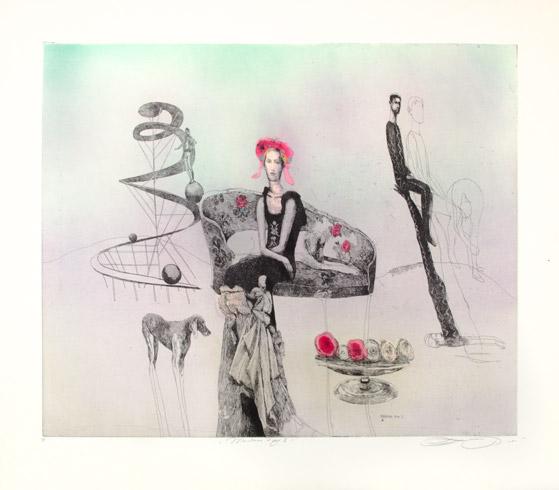 Katarína VAVROVÁ, Akademická maliarka - Madam Fay II (2018), Technika: Ručne kolorovaný lept, Rozmery: 49,5x60 cm