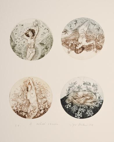 Igor PIAČKA, Akademický maliar - Štyri ročné obdobia (2018), Technika: kombinácia grafických techník, Rozmery: 40x33