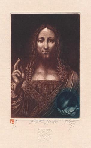 Ak. maliar Peter KOCÁK - Salvator mundi (2018), Technika: Mezotinta, Rozmery: 15x10