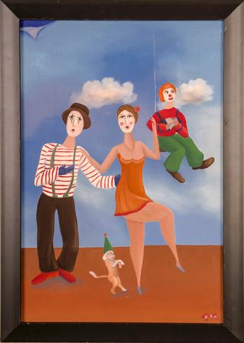 Nataša KŇJAZOVIC - Cirkusanti, Technique: olejomaľba, Size: 45x30 cm