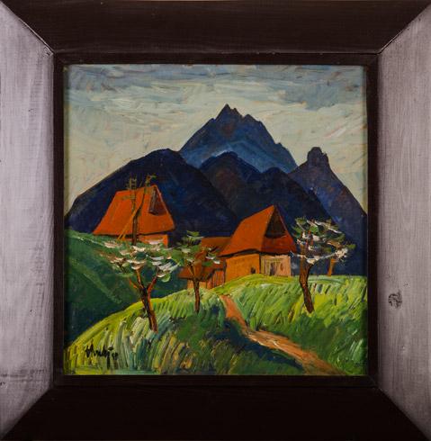 Zdeno HORECKÝ, Akademický maliar - Jar pod Rozsutcom - Zázrivá (kolekcia 1/4) cena  je za kolekciu (1995), Technika: olej+tempera, Rozmery: 40x40