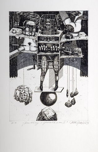 Dušan POLAKOVIČ, Akademický maliar - Problémy s gravitáciou II (1988), Technika: lept, Rozmery: 29x21